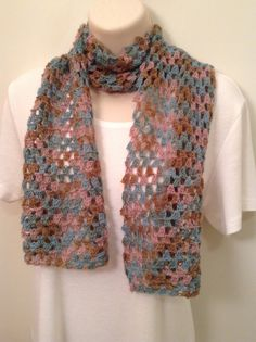 Blue and Tan Lace Crochet Scarf by SueAnnesKnitShoppe on Etsy