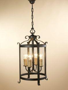 Farol Babilonia 4 luces con malla, se puede cambiar el color de la forja