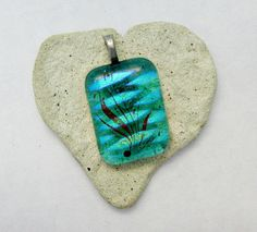 Fused Glass Aqua Dichroic Pendant by Chris1 on Etsy, $20.00