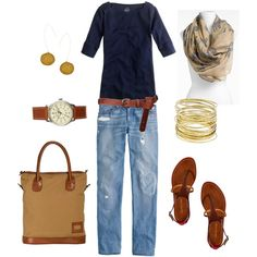 A fashion look from July 2012 featuring J.Crew t-shirts, J.Crew jeans and Sergio Rossi flats. Browse and shop related looks.