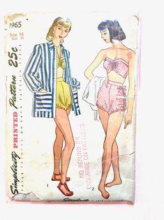 Vintage Simplicity 1965 Misses' Bathing Suit Coat Pin-Up Swimsuit Pattern Bra Top High Waist Shorts Beach Jacket Bust 34 inches. Pin Up Swimsuit, Swimsuit Pattern, Coat Pin, Bishop Sleeve, Top Pattern, Bra Tops, High Waisted Shorts, Bathing Suits, Swimsuits