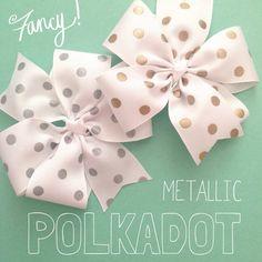 Gold silver white polkadot pinwheel ribbon hair bow baby girl
