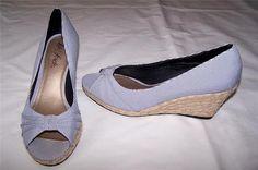 New Life Stride Peep Toe Wedges Shoes Womens Size 7 Navy White | eBay