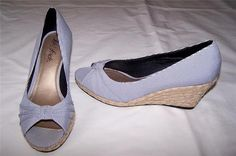 New Life Stride Peep Toe Wedges Shoes Womens Size 7 Navy White | eBay