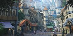 City Landscape by Yamamoto Hiroyuki on ArtStation. Fantasy City, Fantasy Places, Fantasy World, Fantasy Art Landscapes, Fantasy Landscape, Buildings Artwork, Scenery Background, Ligne Claire, Fantasy Concept Art