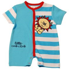 "Pitter Patter ""Little Cub Club"" Romper-Turq/White on mysale.com"