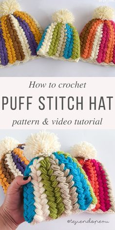 Crochet Beanie Design Braid Puff Stitch Hat Crochet Pattern Tutorial - The cold winter is approaching and we should start to make crochet dresses, blankets and accessories. This amazing puff stitch hat is the best project to start. Puff Stitch Crochet, Crochet Cap, Crochet Stitches, Crochet Dresses, Crochet Crafts, Crochet Projects, Articles Pour Enfants, Knitting Patterns, Crochet Patterns