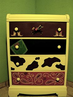 cowboy dresser painted by my daughter in law and I