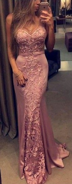 2017 Pink Mermaid Evening Gowns Lace Appliques Sleeveless Figure-flattering Prom Dresses