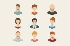 People icons, people avatars, flat by Elegant Solution on Creative Market