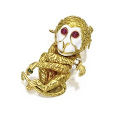 18 Karat Gold, Diamond and Colored Stone Monkey Brooch, David Webb. David Webb, Cartier, New York, Rock, Colored Diamonds, Vintage Jewelry, Lion Sculpture, Auction, Creatures