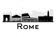 Rome City Skyline Black And White Silhouette. Stock Vector - Illustration of roman, retro: 63485062 Skyline Tattoo, Skyline Art, Black And White City, Clipart Black And White, Monuments, Rome City, City Drawing, Travel Wall Art, Skyline Silhouette