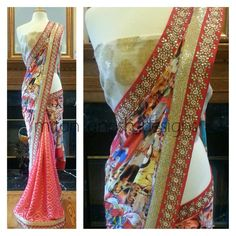 Digital Printed Saree with Banarsi Brocade Body
