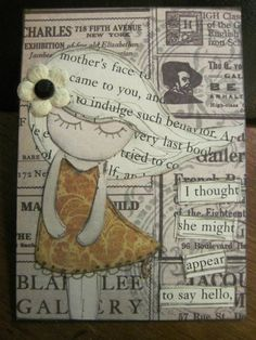 Really cute Paper Doll ATC. I love how sweet she looks. Atc Cards, Card Tags, Altered Books, Altered Art, Art Postal, Paper Art, Paper Crafts, Art Trading Cards, Artist Card