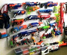 Wall Control metal pegboard organizational products are great for organizing Airsoft, Paintball, and NERF gun collections. Nerf Gun Storage, Diy Toy Storage, Arma Nerf, Storing Stuffed Animals, Metal Pegboard, Nerf Party, Toy Rooms, Great Videos, My New Room