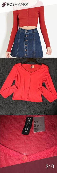 Ribbed Crop Top This is a bright orangey/red ribbed H&M crop top. Divided Tops Crop Tops