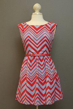 Chevron Print Cap Sleeves Belted Dress – The Dressing Vroom