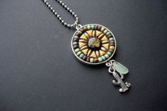 Handmade Artisan Mosaic Pendant Desert Sun by CrookedMoonMosaics, $45.00