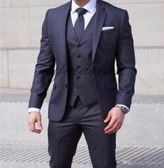 Wedding suits men - 2019 Groom Suit Dark Blue Two Button Notched Lapel GroomsmanTuxedos Wedding Party Suits ( Jacket Vest Pants Tie) Trendy Mens Fashion, Mens Fashion Suits, Stylish Men, Mens Suits Style, Tall Men Fashion, Dress Shirt And Tie, Suit And Tie, Suit Combinations, Party Suits