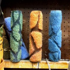 Isn't this genius?! Cut your paint rollers into a pattern of stone, rock, etc. to create instant painted design on walls!