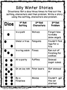 MORE WINTER roll a dice silly ARCTIC animal sentences and
