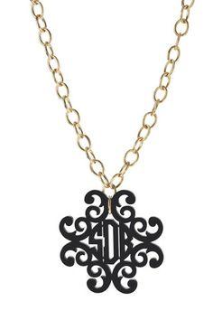 $98 Acrylic Filigree Cross Monogram Necklace