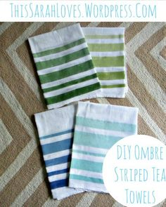 DIY Striped Tea Towels could also be done in chevron for gifts