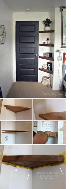 Use Floating Corner Shelves to Create More Storage in an Awkward Small Corner. #decoratingsmallspaces