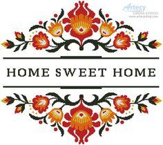 Artecy Cross Stitch. Home Sweet Home Polish Folk Art Design 1 Cross Stitch Pattern to print online.