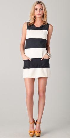 b + w shift dress #stripes
