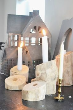 "Wood candle holder.  I would also put a ""moat"" around the holder to keep the wax from running off the slant."