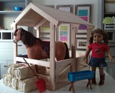 """Toy Hay Bales for Horse Stable for American Girl or 18"""" Dolls"""