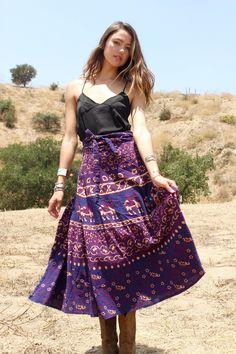 1970s Indian Block Print Wrap Skirt
