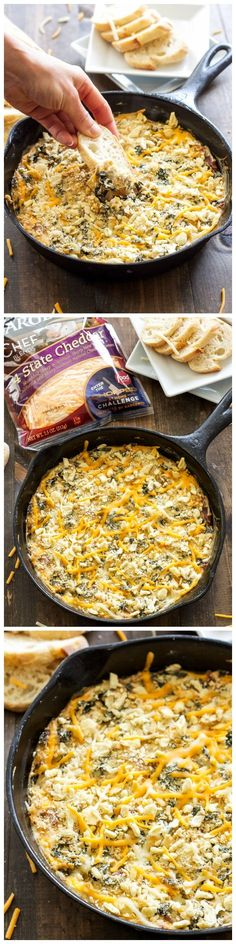 Warm, cheese, creamy, kale and bacon dip is sure to be a crowd pleasing appetizer!