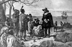 A pen drawing of two men in 16th-century Dutch clothing presenting an open box of items to a group of Native Americans in feather headdresses stereotypical of plains tribes. Peter Minuit is credited with the purchase of the island of Manhattan in 1626.