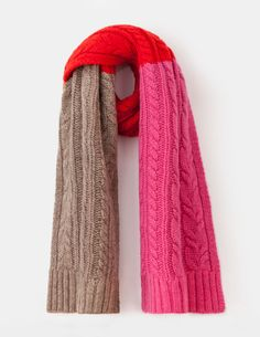 Cable Knit Scarf Party Pink/Truffle Women Boden, dreary days call for colour - and this cosy lambswool-mix scarf with faux-fur pompoms definitely brings the joy. If the weather really needs brightening, weve got a matching hat, too. Knit Cowl, Knit Mittens, Cable Knit, Knitted Hats, Knit Crochet, Knitting Accessories, Women's Accessories, Hat And Scarf Sets, Knit Fashion