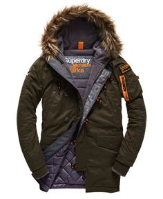 Shop Superdry Mens Microfibre Parka Coat in Dark Army. Buy now with free delivery from the Official Superdry Store. Mens Parka Jacket, Parka Coat, Hooded Parka, Mens Quilted Coat, Parka Outfit, Superdry Jackets, Fashionable Snow Boots, Men's Coats And Jackets, Mens Clothing Styles