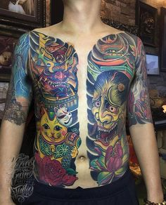 Full Back Tattoos, Full Body Tattoo, Great Tattoos, New Tattoos, Tattoos For Guys, Mens Body Tattoos, Sleeve Tattoos For Women, Body Art Tattoos, Tattoo Samurai