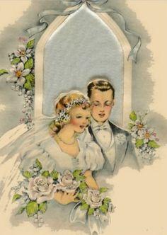 Vintage Art Deco wedding card, ca. 1930s
