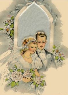 Vintage Art Deco wedding card, ca. 1930s
