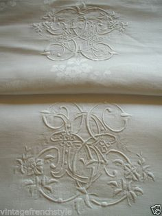 Antique French Linen Tablecloth Crested Monogram Table Linen Damask Tablecloth | eBay