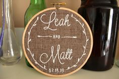 Emily Hunter and I have an etsy store! Come take a peak at our creations :) We would love to make something for you! Embroidery Hoop Crafts, Wedding Embroidery, Embroidery Art, Cross Stitch Embroidery, Embroidery Patterns, Cross Stitch Patterns, Machine Embroidery, Handmade Wedding, Wedding Gifts