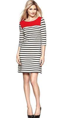 Women's white/ black/ red striped winter Gap dress 100% cotton size XS #GAP #Shift #Casual