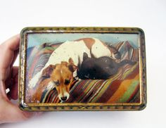 French vintage TIN BOX⎮dog & cat⎮golden Art deco style by LeFrenchBazaar on Etsy