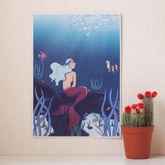 The Little Sea Maid fairy tale Art Print A5 size by AdelaydeArt