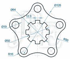 AutoCAD para todos - 100% Práctico: Ejercicios Propuestos Intermedios de AutoCAD (Del 1 al 5) Isometric Drawing Exercises, Autocad Isometric Drawing, Mechanical Engineering Design, Mechanical Design, Cad 2d, Autocad Training, Solidworks Tutorial, Drafting Drawing, Geometric Construction