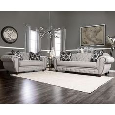 Shop for Furniture of America Augusta Victorian Grey 2-piece Sofa Set. Get free  sc 1 st  Pinterest : jessa place sectional dimensions - Sectionals, Sofas & Couches