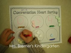 Conversation Heart activity: sorting by colour