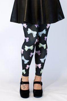 Pastel Eyebow Printed Leggings in Black - http://ninjacosmico.com/top-5-pastel-goth-leggings/