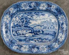 Staffordshire blue and white transferware platter, 19th c., with a bucolic landscape, 16 1/2'' w., 13 - Price Estimate: $100 - $150